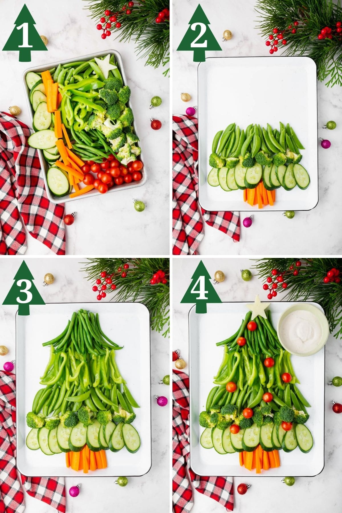 a collage showing how to build a christmas tree veggie tray.